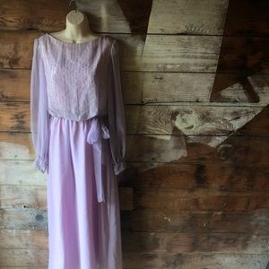 Vintage 70's Lilac and Silver Long Sleeve Dress